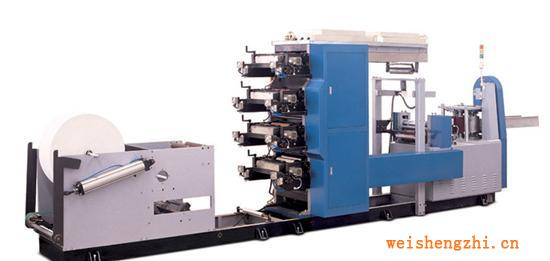供应四色彩印压花餐巾纸折叠机