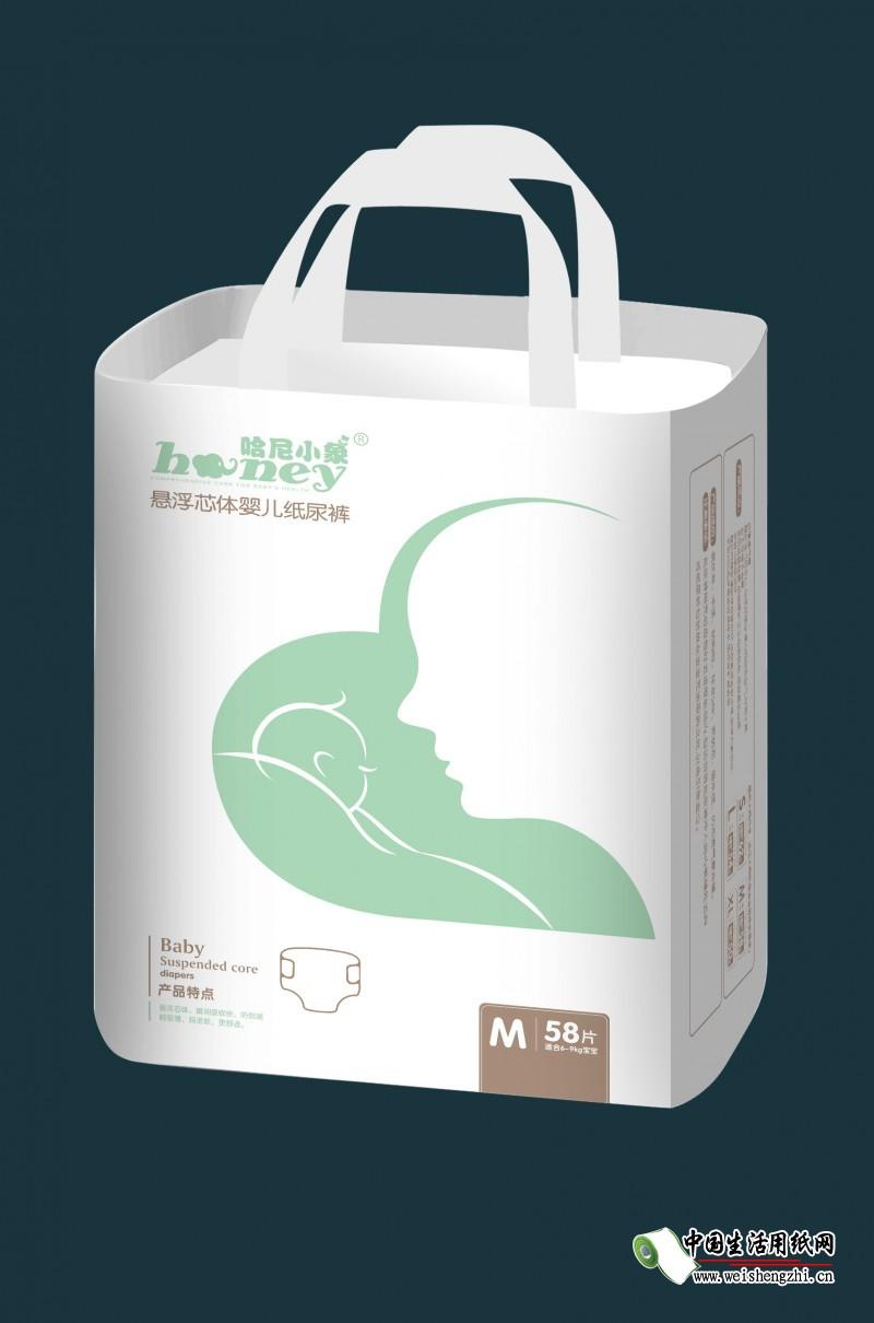 哈尼小象悬浮芯体婴儿纸尿裤M码58片