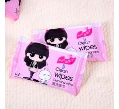 10片清洁卡通湿巾润肤湿纸巾宝宝湿巾婴幼儿湿纸巾厂家
